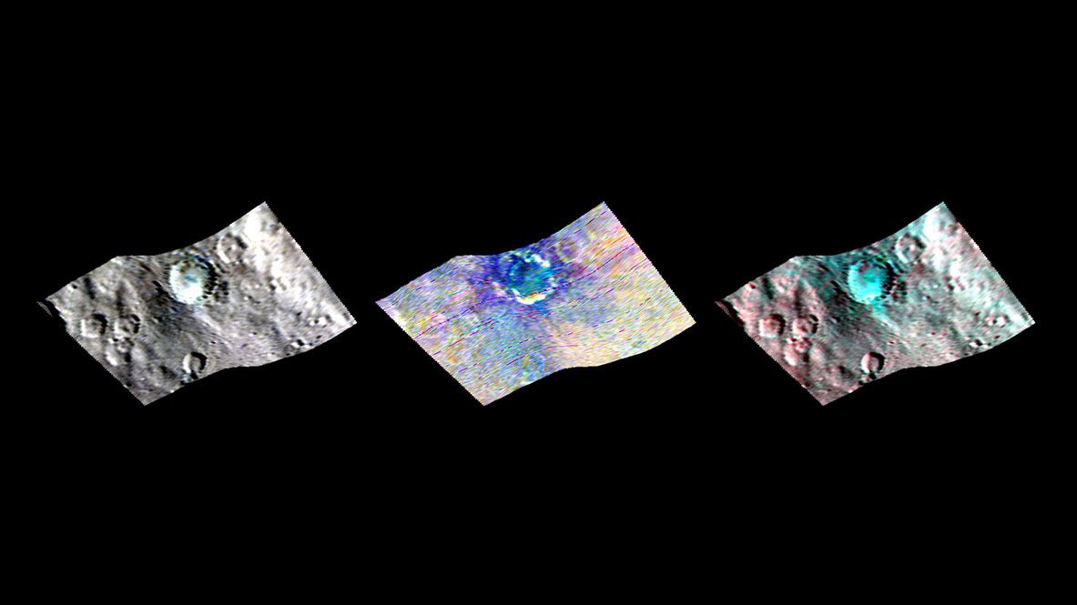 34 km genişliğindeki Haulani Krateri'nin VIR ile elde edilen görüntüleri. [NASA/JPL-Caltech/UCLA/MPS/DLR/IDA/PSI]