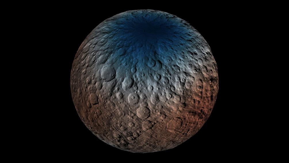 Ceres'in GRaND ile toplanan verilerle hazırlanan kuzey yarımküre haritası. [NASA/JPL-Caltech/UCLA/MPS/DLR/IDA/PSI]