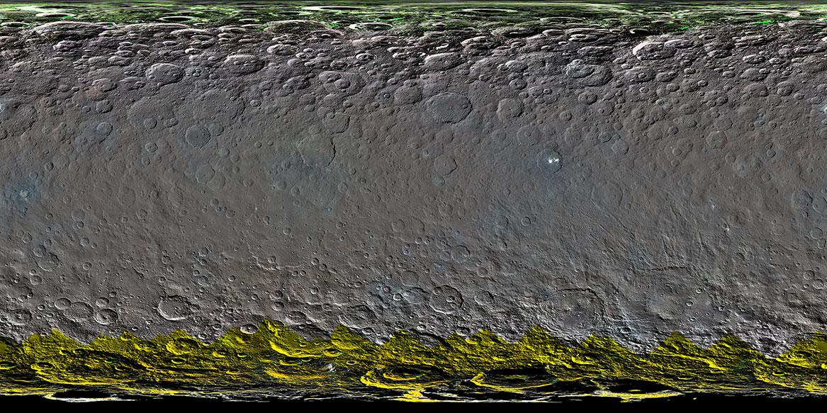 Ceres'in renkli küresel mozaiği. [NASA/JPL-Caltech/UCLA/MPS/DLR/IDA/PSI]