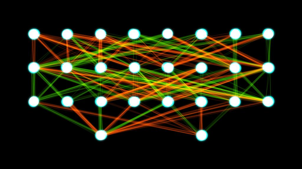Her bir beyaz nokta yapay bir nöronu ve her bir renkli çizgi eğitilebilir bir parametreyi temsil ediyor.