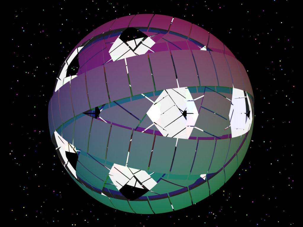 Bir yıldızın etrafını saran Dyson küresi.