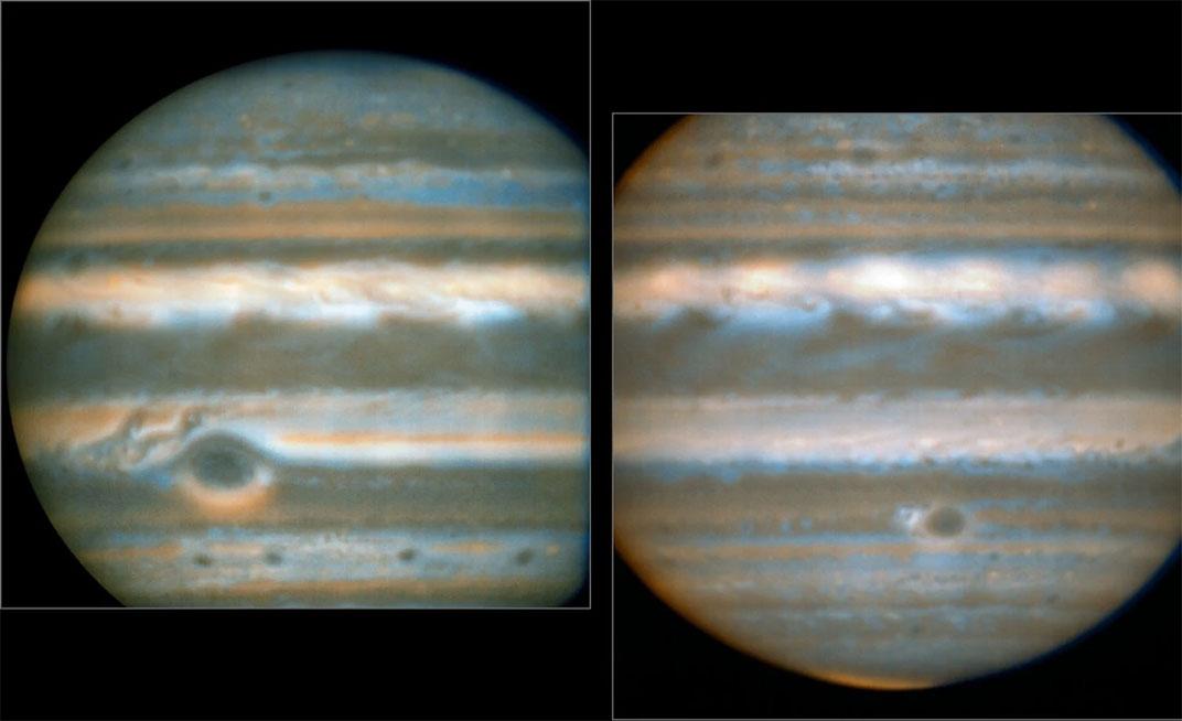Jüpiter'in sahte renkli fotoğrafları, gaz devinin iki yüzünü gösteriyor. [Leigh Fletcher/ESO]