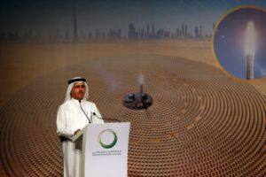 DEWA genel müdürü ve CEO'su Saeed al-Tayer, Dubai'de duyuru yapıyor. [Fotoğraf: DEWA]