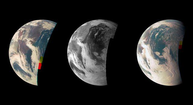 Juno'nun alçak uçuş yerçekimi manevrasını gerçekleştirirken JunoCam aracılığıyla görüntülediği Dünya fotoğrafı. [NASA/JPL-Caltech]