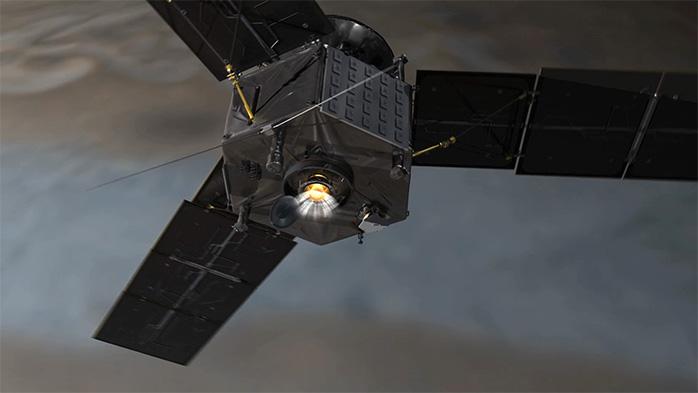 Juno'nun yörüngeye girerken ana motorunu ateşlediği esnadaki animasyon görüntüsü. [NASA/JPL-Caltech]