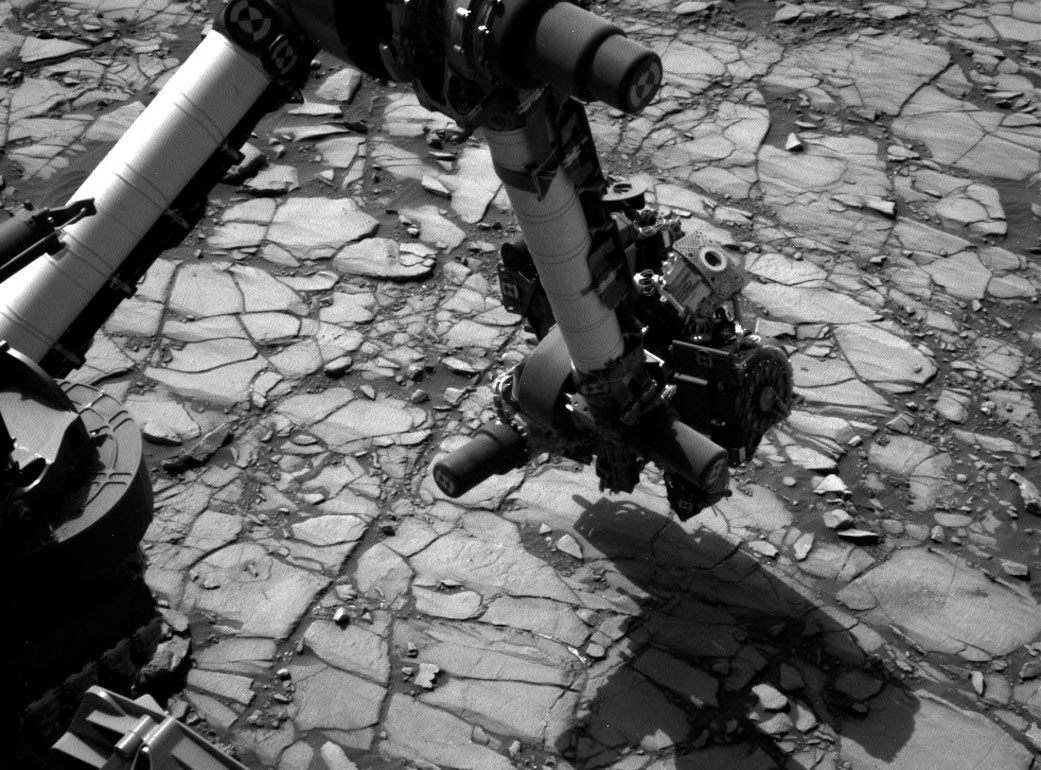 Curiosity'nin 2 Ağustos günü Marimba sondaj noktasında çektiği fotoğraf. [ NASA/JPL-Caltech/MSSS]
