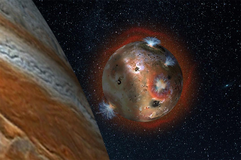 Jüpiter'in gölgesinde kalan Io'nun donmasına ait temsili çizim. [SwRI/Andrew Blanchard]
