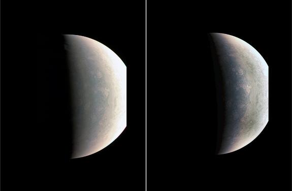 Jüpiter'in kuzey kutup noktası. Güneş sisteminde daha önce görülmemiş fırtınalar göze çarpıyor.