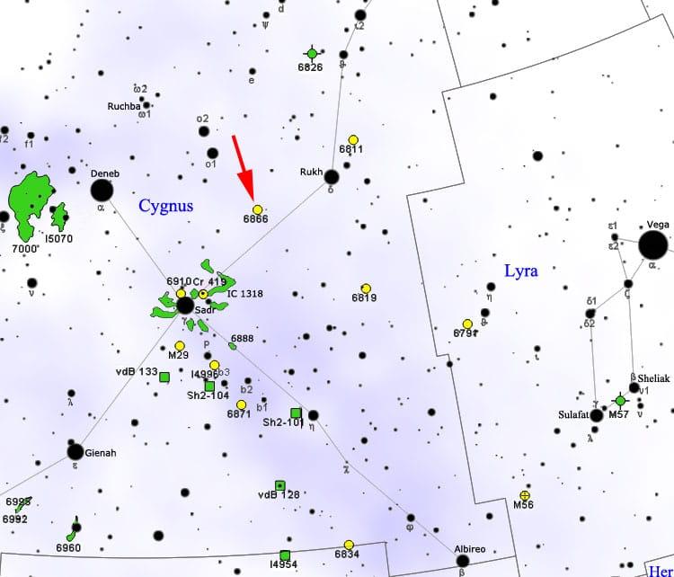 KIC 8462852, Kuğu Takımyıldızı ile NGC 6866 yıldız kümesi arasında kalıyor. [Wikipedia]