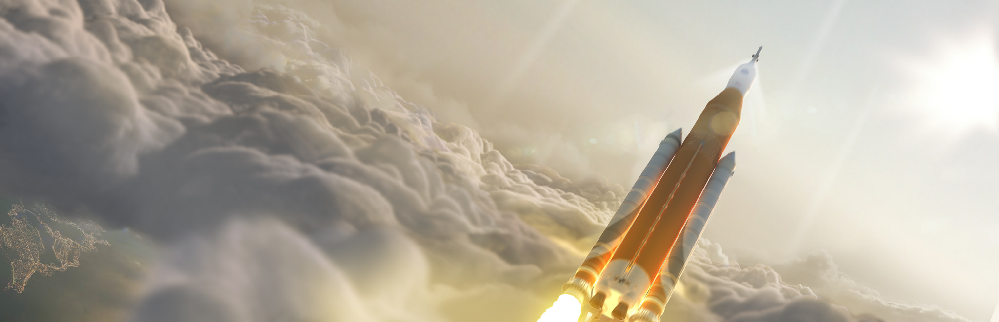 SLS roketine ait çizim. [NASA/MSFC]