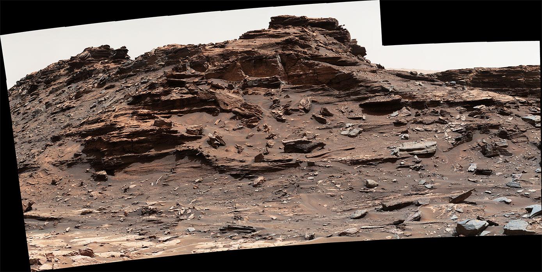 Sharp Dağı'nın eteklerindeki Murray Buttes bölgesinin 1 Eylül 2016 tarihli bir fotoğrafı. Fotoğraftaki tepe 'M9a' olarak biliniyor. [NASA/JPL-Caltech/MSSS]