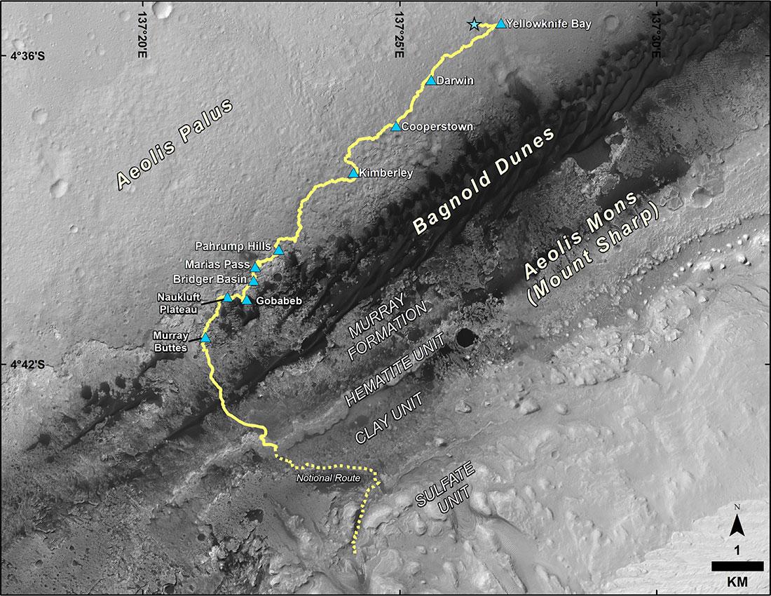 Curiosity'nin Ağustos 2012'den bu yana geride bıraktığı yol. [NASA/JPL-Caltech/MSSS]
