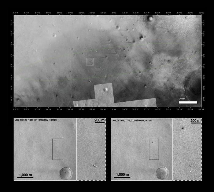 Üstteki fotoğrafta yer alan elips, Schiaparelli için belirlenen iniş bölgesini gösteriyor. Alttaki fotoğraflar ise bölgenin iniş öncesi ve sonraki halini içeriyor. [NASA/JPL-Caltech/MSSS]