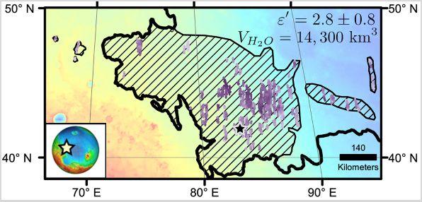 SHARAD donanımı tarafından buz-su tespit edilen bölgeler çiziklerle gösteriliyor. [NASA/JPL-Caltech/Univ. of Arizona]