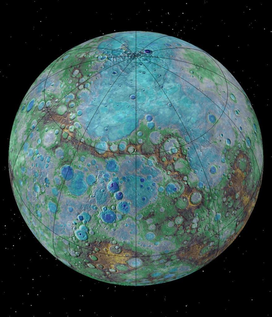 Küçük, sıcak ve büzülen gezegen Merkür. [NASA/JHUAPL/Carnegie Institution of Washington/USGS/Arizona State University]