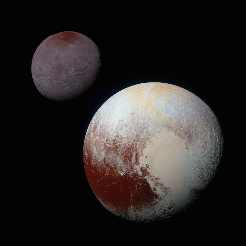Plüton ve Charon'un sahte renkli karşılaştırılması. [NASA/JHUAPL/SwRI]